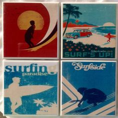 Handmade Surfing Retro Ceramic Tile Drink Coasters - Surf's Up, Surfing…