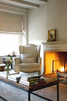 the fireplace and wing chair for drawing room would the ceiling be too much in here as well? Living Room Grey, Home And Living, Cozy Living, Belgian Style, Cottage, Winter House, Home Fashion, My Dream Home, Family Room