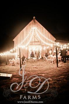 Bistro Lights on the barn. I shot a wedding at this location. VERY beautiful!