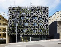 Kengo Kuma's Green Cast Has A Living Facade Of Pixelated Aluminum Planters via Inhabitat - Sustainable Design Innovation, Eco Architecture, Green Building