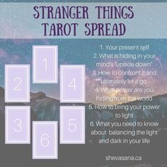 This Stranger Things tarot spread helps us to identify the darkness we must let  go of and the powers we must bring to light. 9c234e272