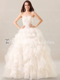 Shop corset strapless wedding dresses with ruffled skirt online! Custom alteration to redesign your dress!