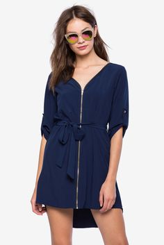 Zenara Zip Shirt Dress