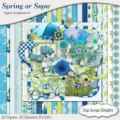 Digital Scrapbooking Spring Showers Digital by DigiScrapDelights Snow, Beach, Shower, Rain #blue #green