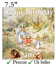Peter Rabbit Traditional Personalised Edible Icing Cake Topper Square/Round/Rect