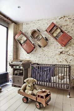 the boo and the boy: industrial nurseries with a hint of rocketships and robots