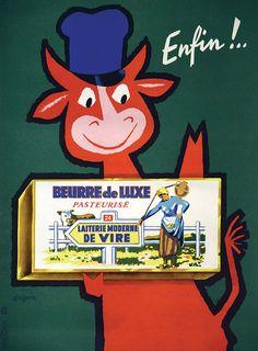 SEGUIN (d'après)Laiterie Moderne de Vire - Beurre de LuxeDe La Vasselais Paris Vire ( Calvados ) Imp. vers 1950 Affiche entoilée/ Vintage Poster on Linnen T.B.E. A - 40 x 29,5#art #auction #poster #affiche #print #paper #papier