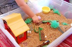 A good home for random Playmobile pieces! - 8 Sensory Activities for Kids to Fill the Witching Hour - Wheat berry play