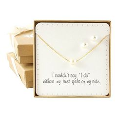 Bridesmaid Gifts- Pretty Single Floating BridalPearl Necklace and Earrings Set, Gold Color -- Want to know more, click on the image.