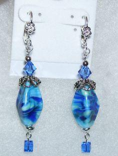 Blue Beauties Lampwork Bead Earrings by mommazart on Etsy, $14.00