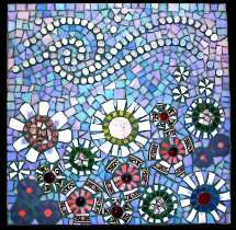 Tile mosaic swirly flowers..I want to do something like this on the cement wall off my patio.