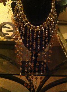 lindo collar cascada en cristal checo lagrimas y piedra natural jade candy costo $500.00