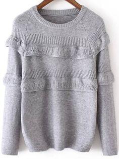 Round Neck Ruffle Grey Sweater