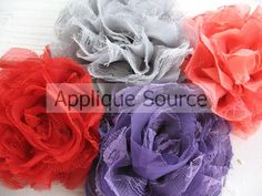 Shabby Chic Distressed Big Chiffon and Lacy Tulle Flowers - Cherry Red - Frayed Flower Applique. $2.65, via Etsy.