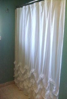 Waves of Ruffles Shower Curtain ~ Learn how to sew curtains for your shower with a free sewing pattern. These DIY Waves of Ruffles shower curtains are inspired by Anthropologie and other designer styles. White Ruffle Shower Curtain, Ruffle Curtains, Wave Curtains, Closet Curtains, White Shower, Bedroom Curtains, Home Goods Decor, Diy Home Decor, Room Decor