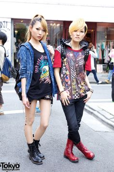 Singers from the J-Pop group Glad Game wearing Galstar, Gilfy, Ghost of Harlem & Glad News in Harajuku.