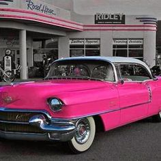 This looks like the white 1955 Cadillac I drove to high school in the seventies…. This looks like the white 1955 Cadillac I drove to high school in the seventies…rode… Color Splash, Color Pop, Pink Color, Vintage Cars, Antique Cars, Pink Cadillac, Pink Chevy, Cadillac Ct6, I Believe In Pink