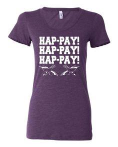 Womens Hap-pay Hap-pay Hap-pay Happy Happy Happy Duck Hunting Tri-Blend Short Sleeved T-shirt $18.95