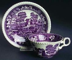 purple transferware cup and saucer.