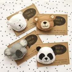 toy bear Felt Panda Koala P - toys Felt Crafts Diy, Felt Diy, Crafts For Kids, Brooches Handmade, Handmade Felt, Felt Brooch, Felt Ornaments, Felt Christmas, Felt Animals