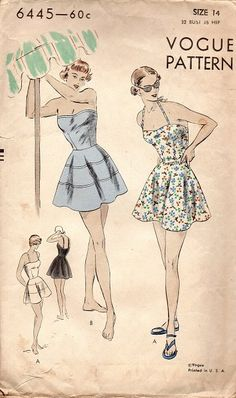 Vogue 6445 Sewing Pattern 1940s Bathing by AdeleBeeAnnPatterns