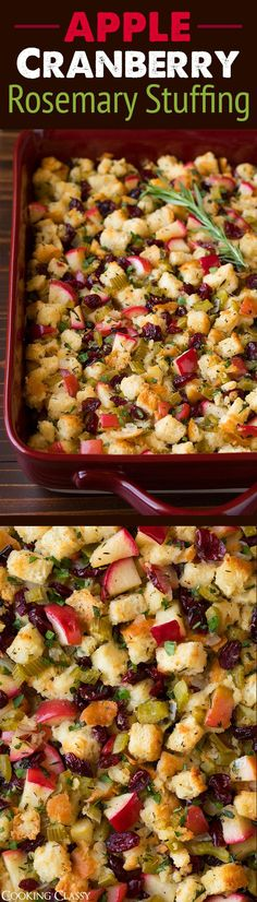 Apple Cranberry Rosemary Stuffing - you'll want a plateful! So good! A thanksgiving must!