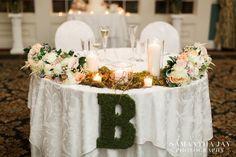 Gorgeous sweetheart table! Photo credit: Samantha Jay Photography http://www.samanthajayphoto.com  www.bluemoonflorist.com 610-873-7900