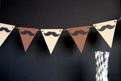 Regular triangle buntings, perhaps no letters needed? Moustache Party, Mustache Theme, 17th Birthday, Birthday Bash, Birthday Parties, Bunting Banner, Banners, 30th Party, Diy Garland