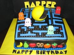Pacman birthday cake. By GRAMMASUE on CakeCentral.com
