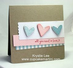 Chipboard hearts love card by Krystie Hersch - love the simplicity of the layout.