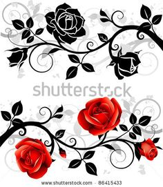Collection Of Flower Silhouettes Identificación de foto en stock: 69514105 : Shutterstock