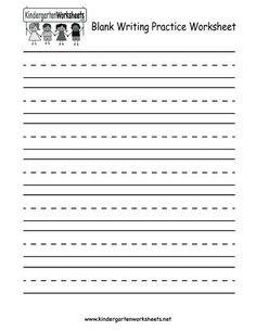 Free Printable Blank Writing Practice Worksheet for Kindergarten