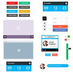 20 Free Flat UI Kit gui templates