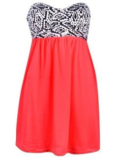Love the sweetheart neckline and pattern with the solid skirt