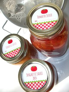 Gingham Tomato Canning jar labels round red cottage shabby chic mason jar stickers, CanningCrafts, Etsy $4