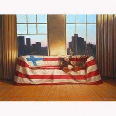 huom. Suomen lippu. Tämä kuva herätti aikanaan kiinnostuksen Kaj Stenvallin teoksiin.