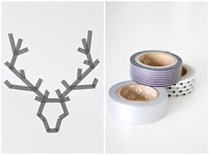 DIY - Antlers made with Japanese washi tape.  You can easily remove the tape when you get tired of it, and thats perfect. It also makes it very easy to work with as well...  The tape are available in all sort of patterns and colors, so it's only your imaginations that stops you.  STYLIZIMO BLOG