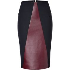 ROLAND MOURET Leather/Knit Pencil Skirt (£486) ❤ liked on Polyvore featuring skirts, pencil skirts, bottoms, knee length pencil skirt, purple skirt, stretchy skirt, stretch knit skirt and roland mouret