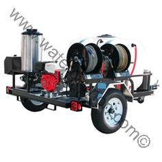 Tank 200 Gal-Trailer-Honda GX Engine-Electric Start-4GPM-4200PSI Engine and pump oil drains mean maintenance simple and hassle free. Built-in features such as a safety pressure relief valve and a thermo-sensor that prevents overheating in bypass mode safeguard the pressure washer and its operator. MODEL16T20