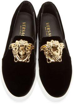 Versace Black Velvet Medusa Slip On.