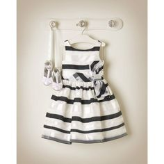 Janie and Jack 2015 Special Occasion Enchanted Organdy Organdy Sriped Dress in White Pearl Stripe ($199)