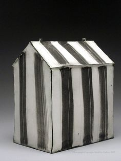 Mary Fischer Black and White Striped House  Sculpture at MudFire Gallery