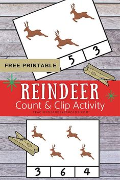 Add some simple counting with this free count and clip printable reindeer activity. A fun way to work on counting skills! Preschool Math, Fun Math, Toddler Preschool, How Many Reindeer, 3 Year Olds, Counting Activities, Card Patterns, Printable Cards, Simple