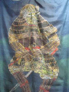 Silk Seide Wandbehang bemalte Seide DER KRIEGER Ursula Pauly