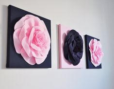 Wall Hangings  Navy Blue Decor  Lake House Decor  Rose by bedbuggs