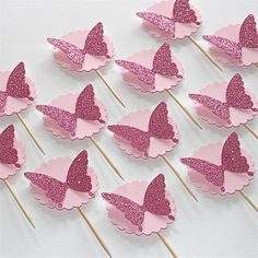 Butterfly Theme Party, Butterfly Cupcakes, Butterfly Baby Shower, Butterfly Birthday, Pink Butterfly, Girl Christening Decorations, Baby Shower Decorations, Diy Cake Topper, Cupcake Toppers