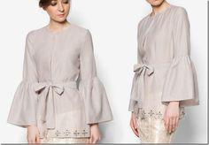 Baju Raya 2016 ~ Kebaya, Peplum, Kimono Style Blouse Ideas / grey-organza-kimono-wrap