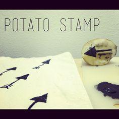 DIY potato stamp @ table cloth pattern