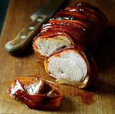Maple Bacon Wrapped Pork Tenderloin Ingredients) - Pork + Maple + Bacon + Olive Oil is all you need to make this. The bacon stopped the tenderloin from taking in some of the flavors of the honey. Bacon Wrapped Pork Tenderloin, Roasted Pork Tenderloins, Pork Tenderloin Recipes, Pork Roast, Pork Recipes, Cooking Recipes, Pork Loin, Recipies, Free Recipes