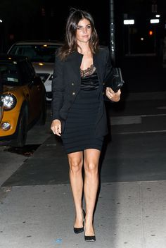 Julia Restoin Roitfeld stepped out in a bandage pencil skirt and silk lace-finished camisole that she cover...